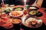 Repas de trek : riz, haricots baveux, soupe...